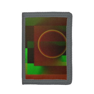 Circle n Squares in Green and Brown Trifold Wallet