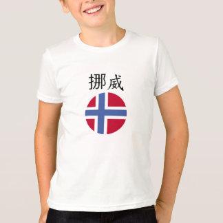 Circle Norwegian flag and Norway written in Chines Tshirt