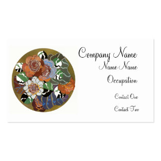 Circle of Art Deco Flowers Business Card Template