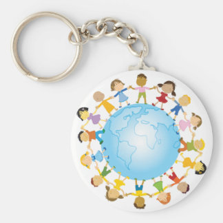 Circle of Children Around the World Basic Round Button Key Ring