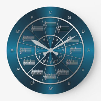 Circle of Fifths Blue Light Beams Wall Clocks