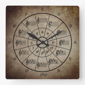 Circle of fifths brown color musicians square wall clock