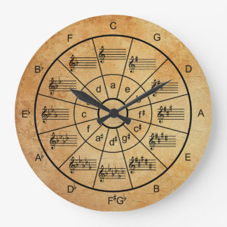 Circle of fifths brown colour musicians large clock