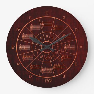 Circle of fifths brown / red colour musicians large clock