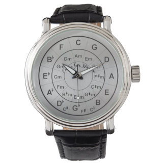 Circle of Fifths Time for Music Black Silver Watch