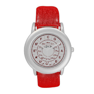 Circle of Fifths Time for Music Red Glitter Watch
