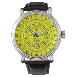 Circle of Fifths Yellow Vintage Leather Watch
