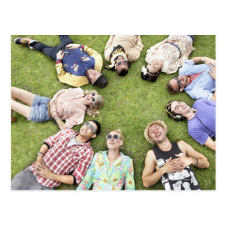 circle of friends, grass, happiness, smiling, postcard