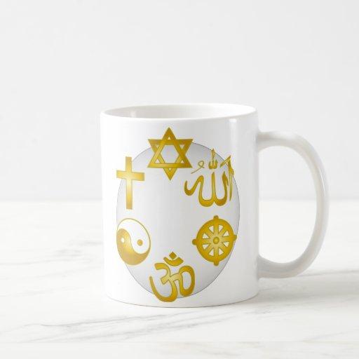 Circle of Golden Religious Symbols Mugs