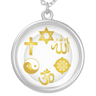 Circle of Golden Religious Symbols Silver Plated Necklace