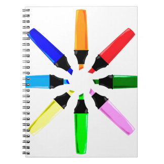 Circle of Highlighter Pens Spiral Notebook