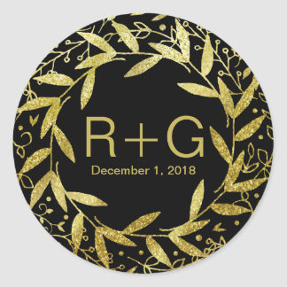 Circle of Leaves Wreath Gold Glitter | black Round Sticker