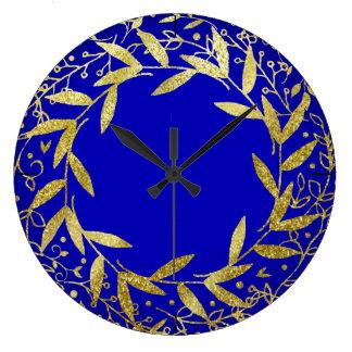Circle of Leaves Wreath Gold Glitter | cobalt Clock