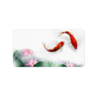 Circle of Life Oriental Zen Feng Shui Koi & Lotus Address Label