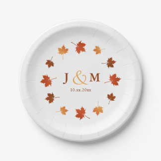 circle of maple leaves rustic fall wedding paper plate