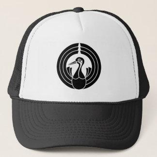Circle of present crane trucker hat