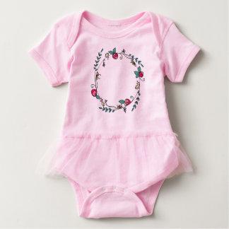 Circle of Rosebuds on Pink  Tutu Baby Bodysuit