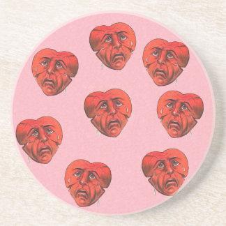 Circle of Surreal Broken Crying Red Heart Faces Coaster