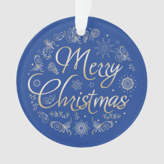 Circle Ornament with Christmas design.