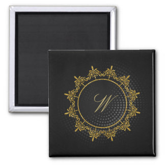 Circle Ornaments Monogram on Black Circular Magnet