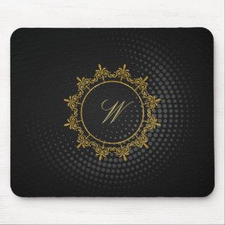 Circle Ornaments Monogram on Black Circular Mouse Pad