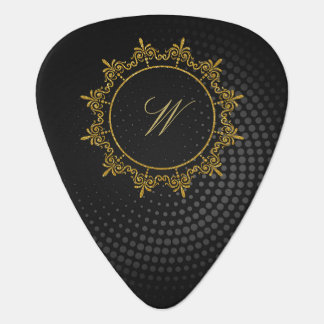 Circle Ornaments Monogram on Black Circular Plectrum