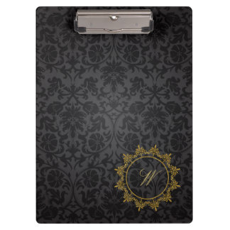 Circle Ornaments Monogram on Black Damask Clipboard