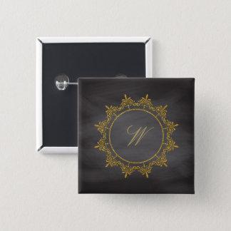 Circle Ornaments Monogram on Chalkboard 15 Cm Square Badge