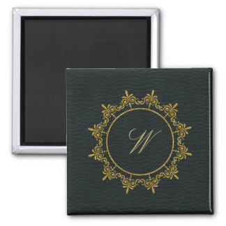 Circle Ornaments Monogram on Dark Leather Magnet
