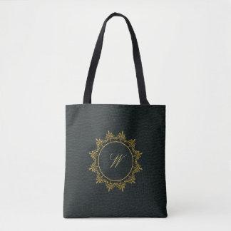 Circle Ornaments Monogram on Dark Leather Tote Bag