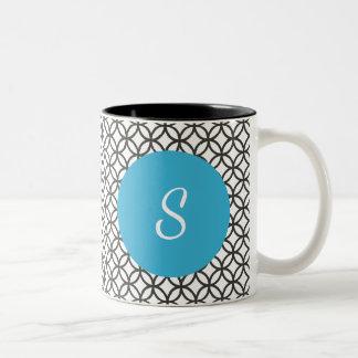 Circle Pattern & Blue Circle with Monogram Two-Tone Coffee Mug