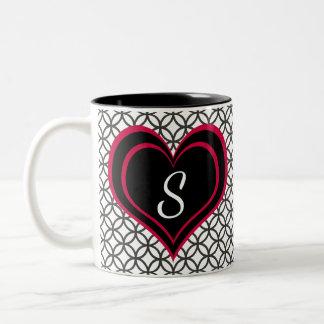 Circle Pattern & Pink, Black Heart with Monogram Two-Tone Coffee Mug
