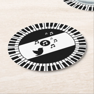 Circle Piano Keys and Songbird Round Paper Coaster