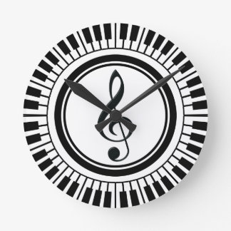 Circle Piano Keys and Treble Clef Round Clock