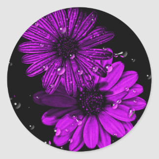 circle purple flower sticker
