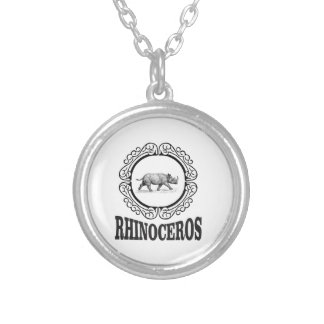 Circle Rhino Silver Plated Necklace