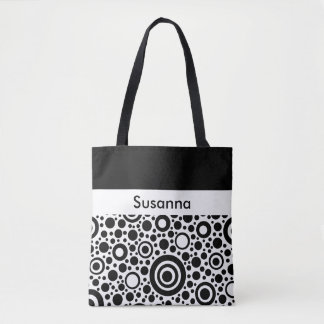 Circle / Rings - Dots black + your backg. & ideas Tote Bag