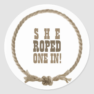 Circle rope western design classic round sticker