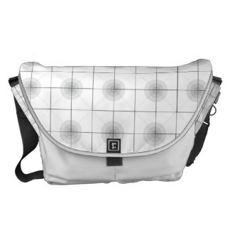 Circle-Squares white Messenger Bag