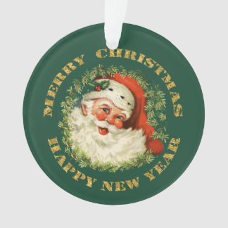 Circle Text Retro Santa Personalized Ornament
