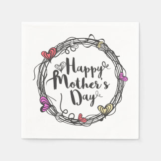 Circle w/ Hearts Happy Mother's Day | Napkin Disposable Serviette