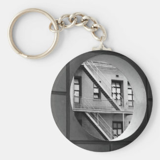 Circle With Fire Escape Basic Round Button Key Ring