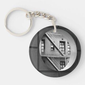 Circle With Fire Escape Double-Sided Round Acrylic Key Ring