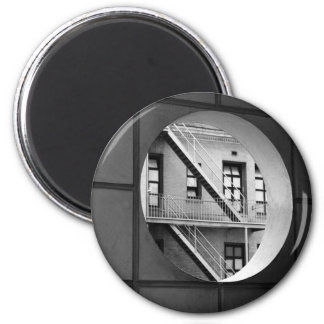 Circle With Fire Escape 6 Cm Round Magnet