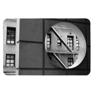 Circle With Fire Escape Vinyl Magnet