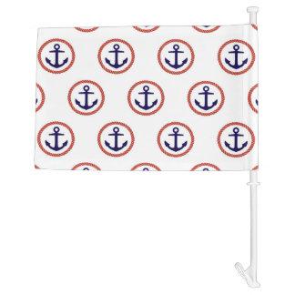 Circled Anchors Nautical Pattern Car Flag