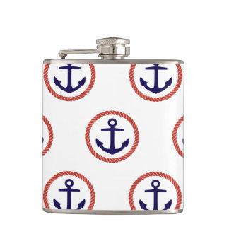 Circled Anchors Nautical Pattern Flasks