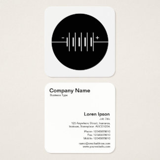 Circled Batteries Symbol - Black and White Square Business Card
