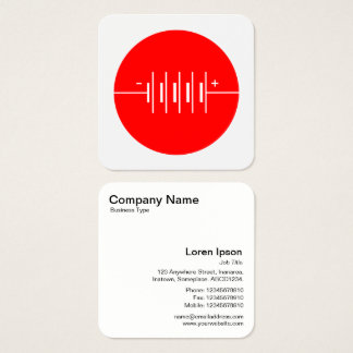 Circled Batteries Symbol - Red and White Square Business Card