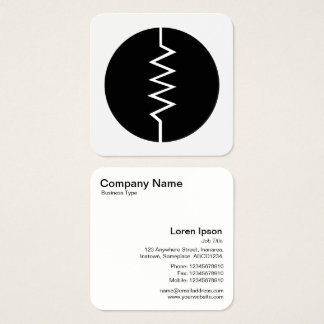 Circled Resistor Symbol - Black and White Square Business Card